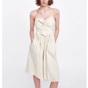 NWT Zara Tie Front Cream Linen Dress